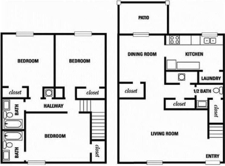 Orchard walk apartment homes for Walk up apartment floor plans